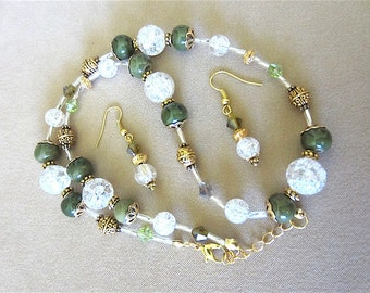 Handcrafted Moss Green, Gold, Ice Crackle Glass Beaded Necklace & Earrings Set, Handmade Original Fashion Jewelry, Bold Eclectic Unique Gift