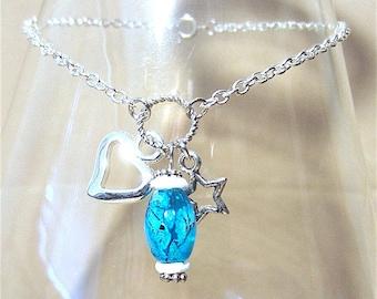 Silver Chain Anklet w/Turquoise Splatter Bead, Silver Heart & Star Charms, Splatter Bead Anklet, Handmade Beaded Anklet, Ankle Bracelet