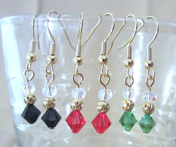 Petite Double Crystal & Gold Filigree Dangle Earrings, Handmade Original Fashion Jewelry, Demure Simple Delicate Custom Wedding Accessories