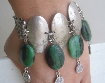 Layered metal cuff ruby zoisite/green cabachon bracelet bold/metal cuff dangle