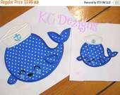 50% OFF SALE Nautical Whale With Hat 1 Machine Applique Embroidery Design - 4x4, 5x7 & 6x8