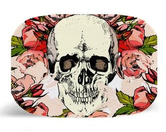 """Melamine Platter, Skull Pink Flowers , Melamine Skull Platter, decorative plate, Dinner Plate, 10"""" plate, Shabby Chic, Skull platter, pink"""