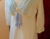 Reserved for Beatrice 1960s Nylon 2pc Nightgown and Robe Set