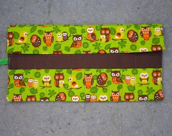 Crochet Hook Case. Double pointed needle roll. Owl fabric
