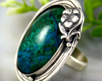 Chrysocolla Ring Statement Stone Ring Sterling Silver Jewelry