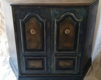 Blue and Wood Stained 2 Door 1 Shelf Cabinet Coffee Bar or Liquor Cabinet or Bar