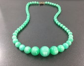Brilliant Antique Vintage Bright Green Moonglow Necklace, Vintage Necklace with graduated beads.