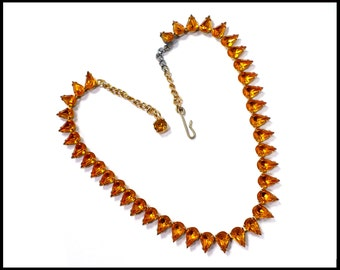 1960s Gold Rhinestone Necklace, Topaz Teardrop / Pear Shaped Rhinestone Choker, Gold Necklace, Maid of Honor Choker, New Years Eve