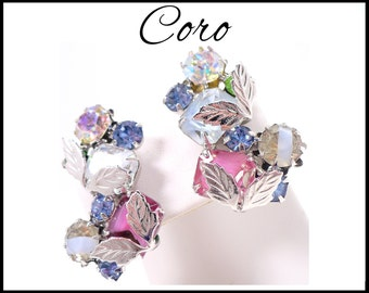 CORO Blue & Pink AB Rhinestone Earrings, Aurora Borealis Ear Climbers, Pink Blue Green, AB Rhinestones White Givre, Graduation Gift For Her