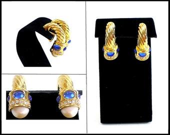 Blue Rhinestone & Pearl Earrings, Gold J Hoop Clip Ons, Blue Earrings, White Pearls, Blue and White Earrings, Graduation Gift For Her