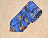 Vintage  Necktie mens handmade cotton tie by County Seat Astrological or Zodiac tie  made in USA  cotton neckwear wedding gift