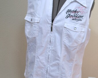 Vintage Harley Davidson motorcycles shirt embroidered women white sleveless blouse shirt  Size 2XL