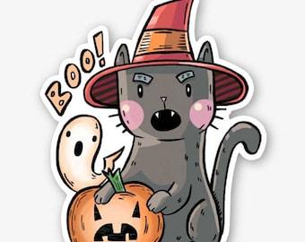 Halloween Cat Vinyl Sticker