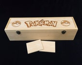 Pokemon Engraved Deck Box with Hinges & 2 Latches-16 3/4x4 1/2 x4 1/4-pokemon card game-pokemon pikachu-pokemon theme