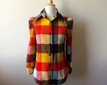 Vintage Puff Sleeve Plaid Flannel Shirt