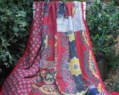Red Kantha Quilt,Patchwork Kantha,Red Sari Throw, Red Indian Throw,Red Kantha Blanket,Vintage Kantha Quilt,Indian Coverlet
