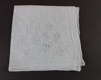 Gorgeous White  Cutwork Bridal Vintage Handkerchief H-127