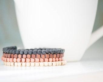 Ombre Wood Beaded Wrap Bracelet