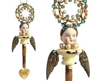 Mixed media assemblage Angel, Guardian Angel, angel ornament, original art doll by Elizabeth Rosen