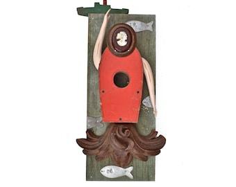 wood wall art, the lonely mermaid, folk art mermaid art, found object art, mixed media assemblage, 8x18, Original art by Elizabeth Rosen