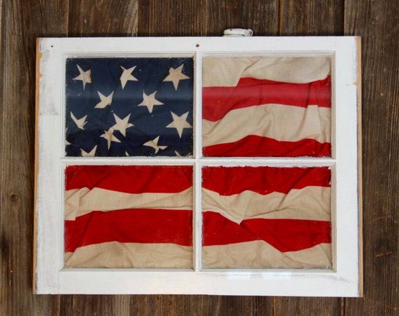 Vintage American Flag Framed In Antique Four Pane Window