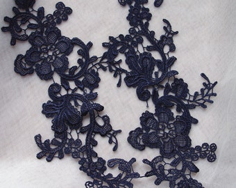 navy blue lace applique, green floral lace applique, multiple colors available