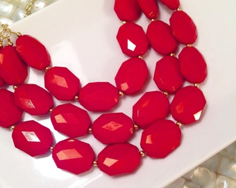 Red Statement Necklace Triple Strand Chunky Lightweight Bridesmaid Necklace