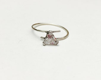Vintage silver solitaire ring size 4.5, triangle clear CZ, Clearance Sale, item No S358