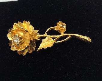 Rose Brooch, Gold Tone, Clear Rhinestones, Vintage Brooch, HALF OFF Sale, Item No. B404