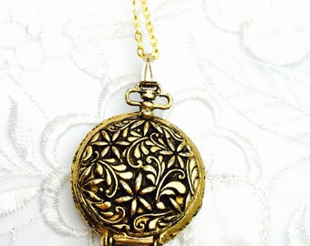 Round Perfume Box Pendant,  Art Deco Gold Tone, Matching Necklace,  Item No. B422