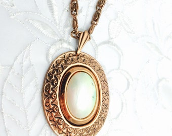 Art Deco Copper Pendant, Chunky Necklace, Vintage Oval Stone, HALF OFF  S A L E, Item No. B577