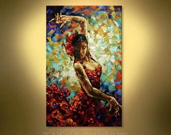 "Original Oil Palette Knife Flamenco Dancer painting on canvas panel ready to hang from Paula Nizamas 36"""