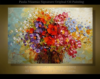 "Flowers Bouquet Original  36"" x 24"" Impressionist Palette Knife Floral Fine Painting from Paula"