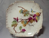 Antique Franz Anton Mehlem Square Plate Butterfly & Leaves Royal Bonn