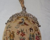 Antique Chinoiserie Petit Point Evening Bag w/ Gorham Sterling Silver Frame 1895