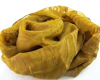 Gold Silk Scarf, Bronze Handpainted Wave Pattern Silk Scarf, Dark Mustard Silk and Rayon Scarf, Underwater Plant Pattern Silk Scarf