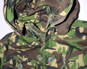 Vintage Camouflage Military Coat - Khaki -Hood- trench long jacket-British Military - Pockets Warm Weather Coat-Army Surplus-