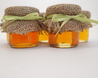 50 Rustic Mini Mason Jar Wedding Favors, Burlap Toppers with a Twine or Ribbon Bow.  Adds that Rustic look to any event.