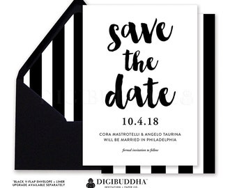 SAVE THE DATE Card Wedding Invitation Modern Black White Stripe Marriage Classic Invite Free SHiPPING or DiY Printable Save the Dates - Cora