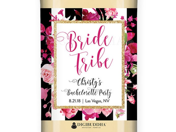 Bride Tribe Wine Label Bachelorette Party Favors Black