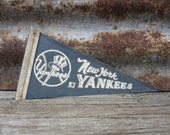 Vintage Baseball Pennant New York Yankees 4x8 Inch Distressed Pennant Mini Flag 1960s Era Collectible Vintage Sports Stocking Stuffer