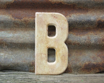 Letter Sign Vintage Metal Letter B Sign 7 1/2 Inch Distressed Aged Off White Marquee Sign Wall Art vtg Alphabet Letter Advertising Old
