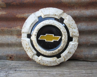 Vintage Original Chevrolet Hub Cap 1960s Era Metal Wheel Hub Cap Aged White Rusted Chevy Bow Tie Logo Automotive Wall Hanger Clock Piece