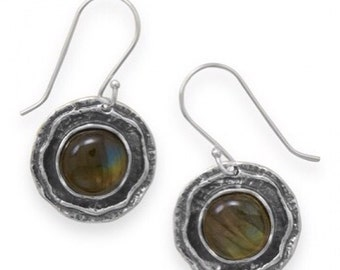 Mystic Sterling Silver Earrings with Labradorite