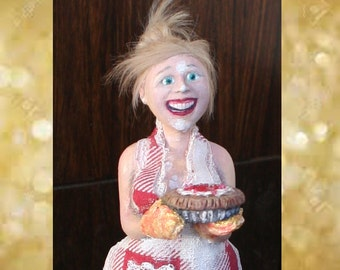 1:12 scale Holiday Lady ~Pie Baker OOAK dollhouse Art Doll *Woman Made to Order*