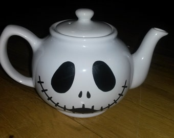 Jack Skellington Nightmare Before Christmas Handpainted Teapot