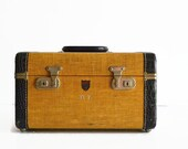 vintage tweed train makeup case 1940s Monarch McBrine luggage