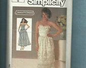 Summer SALE Vintage 1985 Simplicity Sexy Strapless Dresses with Tiered Lace & Small Chevron Drop Waist  6883 Size 10 UNCUT