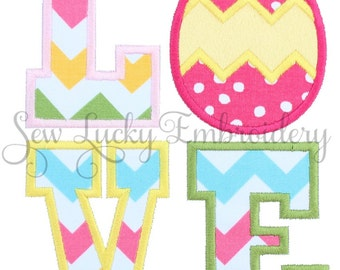 Love Easter Egg Applique Embroidered Patch , Sew or Iron on