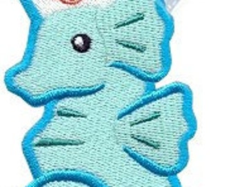 Sonya Seahorse Applique Embroidered Patch , Sew or Iron on